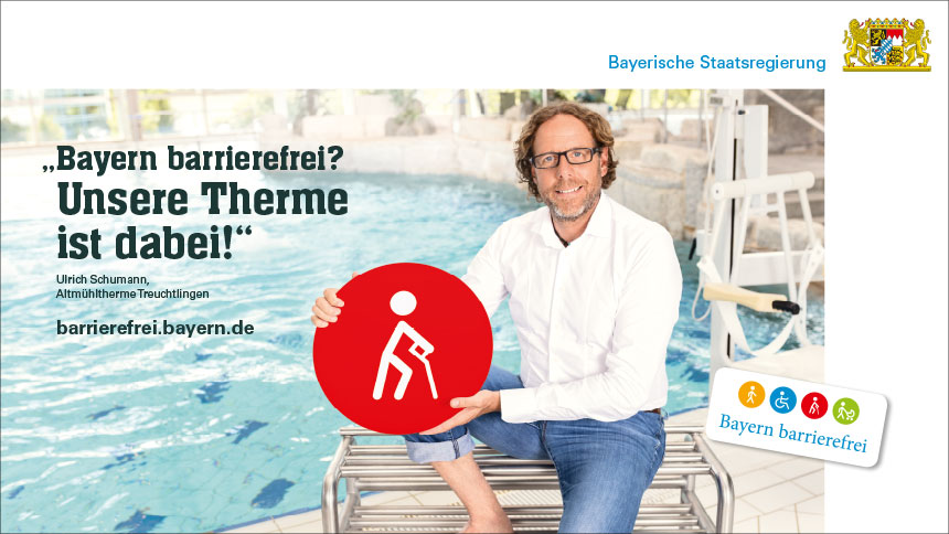 "Kampagnenmotiv Therme: ""Bayern barrierefrei""."